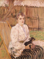 Портрет. Дама с собачкой.  Картон, масло. 75х57,2см. 1891