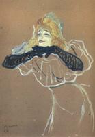Портрет. Певица Иветт Гильбер.  Картон, темпера. 57х42см. 1894