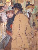 Альфред Ла Гинь в кабаре.  Картон, гуашь. 65,6х50,4см. 1894