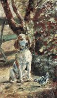 Портрет собаки. Пес художника Флеш.  Холст, масло. 23,4х14,1см. 1881