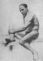 5. Длительный учебный рисунок сидящей живой модели