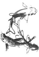 19. А. Устинов. Наброски рыб в аквариуме. «Сомики». Кисть, темпера