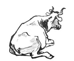 27. Учебный набросок. «Корова». Кисть, тушь