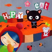 Картина продана. Веселый котик (акрил, холст, 50x50см)