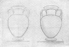 16. Линейный рисунок декоративной вазы