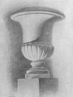 19. Закопченный учебный рисунок вазы