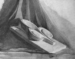 9. Рисунок детали орнамента отмывкой тушью