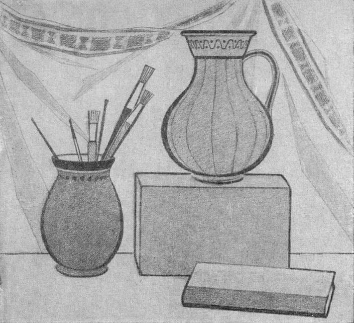 Нарисуй натюрморт из предметов темнее