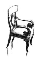 Рисунок 2. Учебный набросок кресла. Уголь