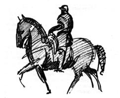 Рисунок 3. А. Колчин. Набросок человека на коне. Фламастер