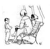 Рисунок 4. Н. Жуков. Набросок людей. Перо, тушь