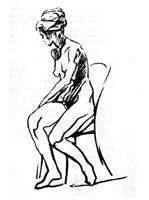 Рисунок 5. Набросок обнаженной девушки. Карандаш