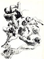 Рисунок 3. Дж. Тьеполо. «Битва гигантов». Набросок людей. Перо, тушь