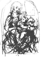 1. Леонардо да Винчи. Наброски рисунков к картине «Мадонна с кошкой». Перо