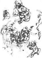 2. Леонардо да Винчи. Наброски рисунков к картине «Мадонна с кошкой». Перо