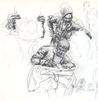 Рисунок 1. И. Репин. Зарисовки карандашом к картине «Запорожцы»