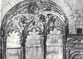 Рисунок 8. П. Корин. Зарисовка карандашом фрагмента архитектурного портала