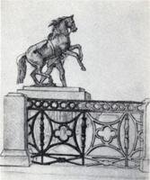 Рисунок 9. Учебная зарисовка карандашом ограды набережной