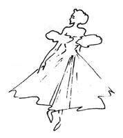 Рисунок линии 4. Ю. Пименов. Набросок танцующей женщины. Фламастер