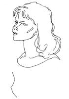 Рисунок линии 5. Н. Цейтлин. Набросок головы. Перо, тушь