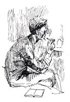 Рисунок линии 7. Н. Купреянов. Набросок фигуры. Перо, тушь