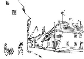 Рисунок линии 8. Н. Цейтлин. Зарисовка пейзажа. Перо, тушь
