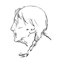 Рисунок 10. О. Верейский. Набросок головы. Перо, тушь