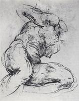 Рисунок 12. Микеланджело. Мужской торс. Сангина