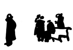Рисунок 2. В. Стекольщиков. Набросок людей «На бульваре». Фломастер