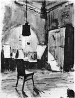 Рисунок 4. Учебная зарисовка интерьера. Черная акварель, кисть