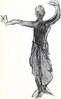 Рисунок 6. О. Роден. Набросок «Танец». Акварель кисть, итальянский карандаш