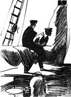 Рисунок 7. Ю. Гершкович. Набросок «На палубе». Фломастер, акварель, кисть