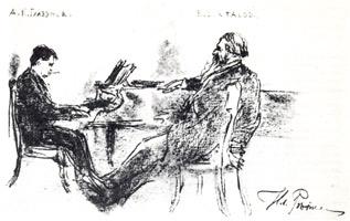 Рисунок 8. И. Репин. Набросок «Глазунов и Стасов». Итальянский карандаш