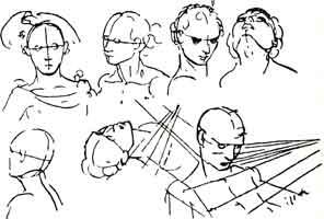 2. Г. Гольбейн. Схематические наброски головы