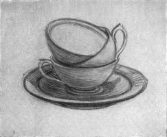 15. Рисунок чашек с блюдцем