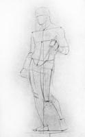 2. 2-я стадия рисунка гипсовой фигуры («Дорифора» Поликлета)
