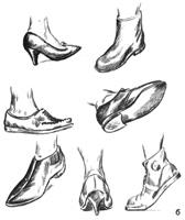 5. Упражнения в набросках:  с обутой ноги