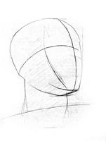 1. 1-я стадия рисунка гипсовой головы