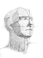 2. 2-я стадия рисунка гипсовой головы