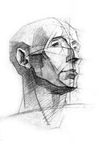 3. 3-я стадия рисунка гипсовой головы