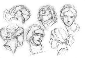 6. Наброски с гипсовой головы. Учебное упражнение