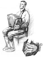 6. Учебная зарисовка «Гармонист». Карандаш