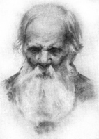 2. Голова старика. Учебный рисунок углем
