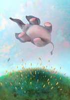 Иллюстрация - Левитация слона. Компьютерная графика. Анимация
