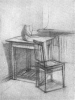2. Стол и стул в углу комнаты. Учебный рисунок