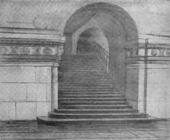 7. Часть залы метро. Учебный рисунок