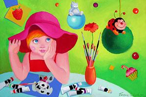 Купить картину. Стоимость 800 грн. Девочка-художник (акрил, холст, 40x60см)