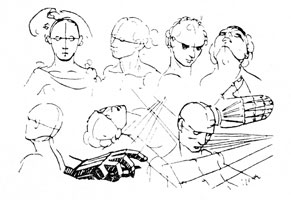 1. Г. Гольбейн. Построение головы и кисти руки при помощи серединной линии и крестовины