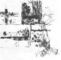 11. И. Левитан. Наброски пейзажных мотивов. Перо, тушь, кисть