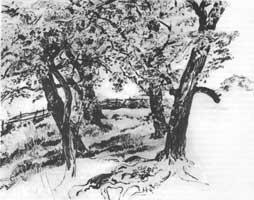 12. И. Левитан. Пейзаж. Карандаш